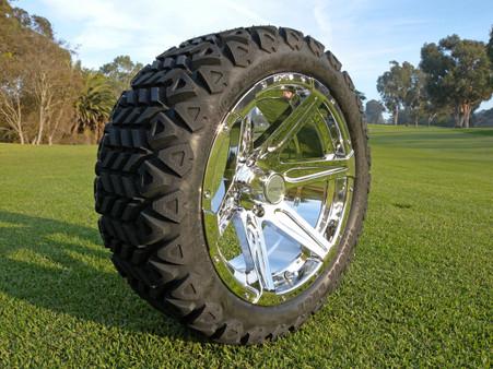 Radial 23x10.5R15 Innova Edge lifted golf car tire mounted on AR618 chrome wheel.