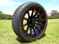 """15"""" INNOVA DRIVER GOLF CAR TIRE 205/35R15 AND WHEEL AR718 SABRE ASSEMBLY -25MM OFFSET 4 HOLES BLACK/RED"""