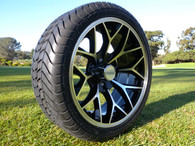 """15"""" INNOVA DRIVER GOLF CAR TIRE 205/35R15 AND WHEEL AR738 CORAL MACHINED BLACK ASSEMBLY -25MM OFFSET 4 HOLES"""