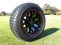 "12"" INNOVA DRIVER GOLF CAR TIRE 215/50-12 AND WHEEL AR738 GLOSS BLACK/RED LIP ASSEMBLY -25MM OFFSET 4 HOLES"
