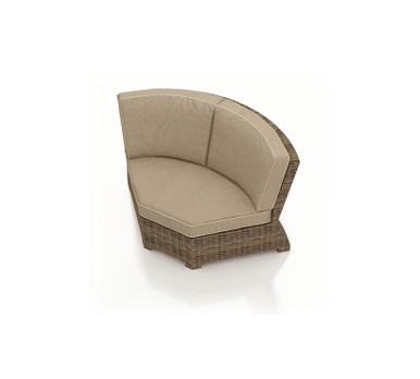 Forever Patio Cypress Wicker Sectional 45 Degree Corner Chair Heather Sunbrella Canvas Taupe With Linen Canvas Welt