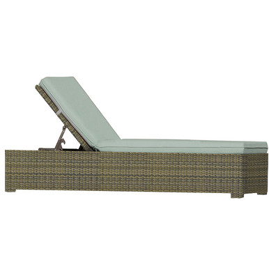 Forever Patio Cypress Wicker Single Adjustable Chaise Lounge Heather Sunbrella Canvas Taupe With Linen Canvas Welt