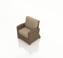 Forever Patio Cypress Wicker Club Chair Heather Sunbrella Canvas Taupe With Linen Canvas Welt