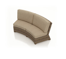 Forever Patio Cypress Wicker Curved Sofa Heather Sunbrella Canvas Taupe With Linen Canvas Welt