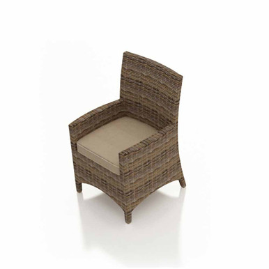 Forever Patio Cypress Wicker Dining Armchair Heather Sunbrella Canvas Taupe With Linen Canvas Welt