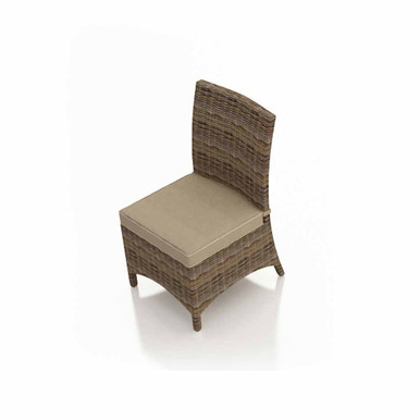 Forever Patio Cypress Wicker Dining Side Chair Heather Sunbrella Canvas Taupe With Linen Canvas Welt