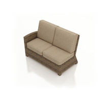 Forever Patio Cypress Wicker Sectional Left Arm Facing Loveseat Heather Sunbrella Canvas Taupe With Linen Canvas Welt