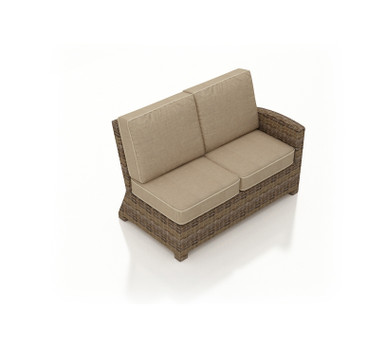 Forever Patio Cypress Wicker Sectional Right Arm Facing Loveseat Heather Sunbrella Canvas Taupe With Linen Canvas Welt