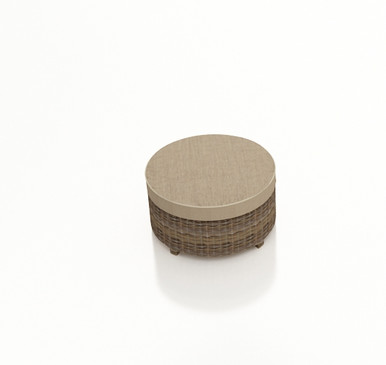 Forever Patio Cypress Wicker Round Ottoman Heather Sunbrella Canvas Taupe With Linen Canvas Welt