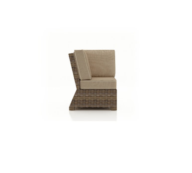 Forever Patio Cypress Wicker Sectional Corner Chair Heather Sunbrella Canvas Taupe With Linen Canvas Welt