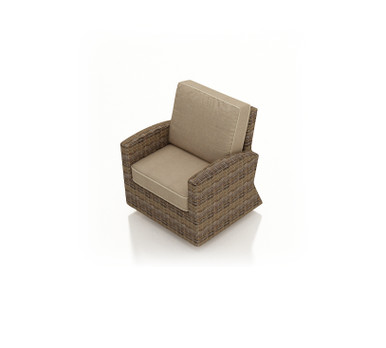 Forever Patio Cypress Wicker Swivel Glider Club Chair Heather Sunbrella Canvas Taupe With Linen Canvas Welt