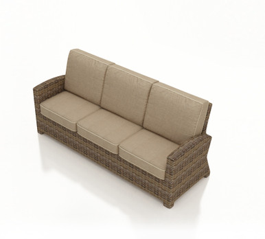 Forever Patio Cypress Wicker 3-Seater Sofa Heather Sunbrella Canvas Taupe With Linen Canvas Welt
