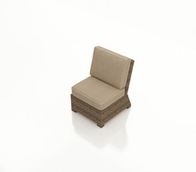 Forever Patio Cypress Wicker Sectional Middle Chair Heather Sunbrella Canvas Taupe With Linen Canvas Welt