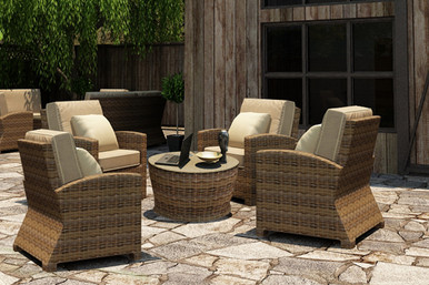Forever Patio 5 Piece Cypress Stationary Chat Set Heather Sunbrella Canvas Taupe With Linen Canvas Welt
