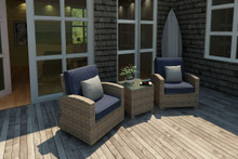 Forever Patio Cypress Collection 3 Piece Wicker Chat Set Heather Sunbrella Spectrum Indigo With Spectrum Dove Welt