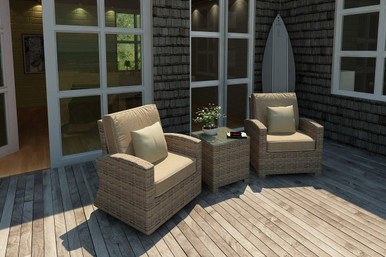 Forever Patio Cypress Collection 3 Piece Wicker Chat Set Heather Sunbrella Canvas Taupe With Linen Canvas Welt