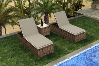 Forever Patio Cypress Collection 3 Piece Wicker Chaise Lounge Set Heather Sunbrella Canvas Taupe With Linen Canvas Welt