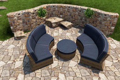 Forever Patio Cypress Collection 3 Piece Curved Wicker Sectional Set Heather Sunbrella Spectrum Indigo With Spectrum Dove Welt