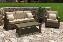 Forever Patio Cypress Collection 3 Piece Wicker Sofa Set Heather Sunbrella Canvas Taupe With Linen Canvas Welt