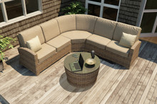 Forever Patio Cypress Collection 4 Piece Wicker Sectional Set Heather Sunbrella Canvas Taupe With Linen Canvas Welt