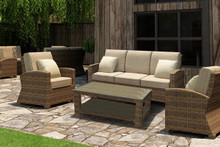 Forever Patio Cypress Collection 4 Piece Wicker Loveseat Set Heather Sunbrella Canvas Taupe With Linen Canvas Welt
