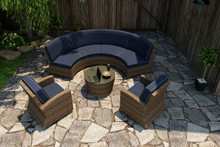 Forever Patio Cypress Collection 5 Piece Wicker Sectional Set