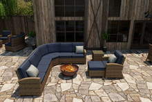 Forever Patio Cypress Collection 7 Piece Wicker Sectional Set Heather Sunbrella Spectrum Indigo With Spectrum Dove Welt