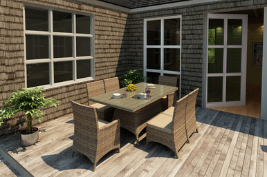 Forever Patio 7 Piece Cypress Rectangle Dining Set Heather Sunbrella Canvas Taupe With Linen Canvas Welt