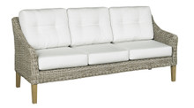 Forever Patio Carlisle Wicker 3 Seat Sofa Alabaster Sunbrella Linen Canvas