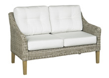 Forever Patio Carlisle Wicker Loveseat Alabaster Sunbrella Linen Canvas