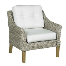 Forever Patio Carlisle Wicker Lounge Chair Alabaster Sunbrella Linen Canvas