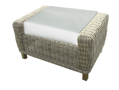 Forever Patio Carlisle Wicker Ottoman Alabaster Sunbrella Linen Canvas