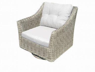 Forever Patio Carlisle Wicker Swivel Rocker  Alabaster Sunbrella Linen Canvas