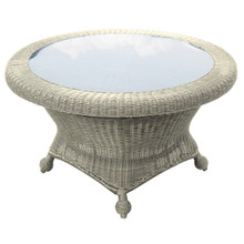 Forever Patio Carlisle Rotating Chat Table w/ Glass Top Alabaster