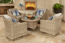 Forever Patio 5 Piece Carlisle Chat Set Alabaster Sunbrella Linen Canvas