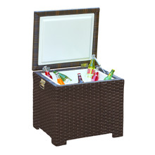 Forever Patio Barbados Wicker End Table Ice Chest Ebony