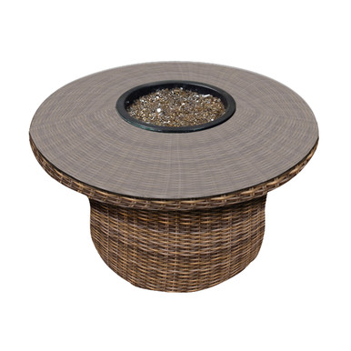 """Forever Patio Cypress 42"""" Round Wicker Fire Table"""
