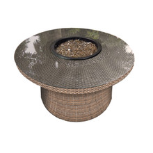 "Forever Patio Hampton 42"" Round Wicker Fire Table Heather"