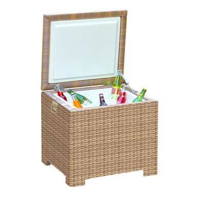Forever Patio Hampton Wicker End Table Ice Chest Biscuit