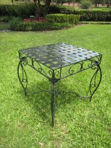 International Caravan Mandalay Antique Black Square Iron Side Table