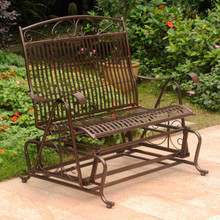 International Caravan Mandalay Iron Glider Bench