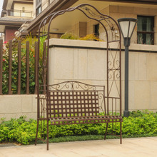 International Caravan Mandalay Wrought Iron Arbor Bench