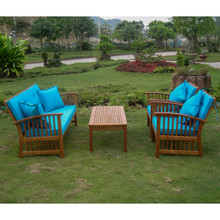 International Caravan Royal Tahiti Phuket Yellow Balau Hardwood Settee Group with Cushions and Throw Pillows