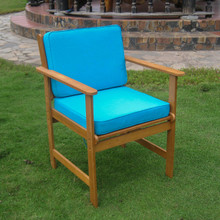 International Caravan Royal Tahiti Gulf Port Yellow Balau Hardwood Arm Chairs with Cushions (Set of 2)