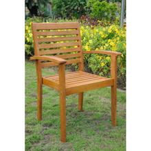 International Caravan Royal Tahiti Oslo Yellow Balau Hardwood Contemporary Dining Arm Chairs (Set of 2)