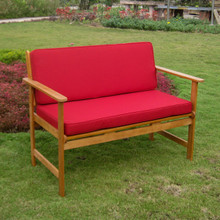 International Caravan Royal Tahiti Gulf Port Yellow Balau Hardwood Arm Bench With Cushions