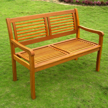International Caravan Royal Tahiti Bar Harbor Yellow Balau Hardwood 2-Seater Park Bench