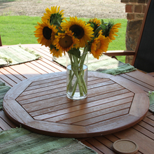 International Caravan Royal Tahiti Yellow Balau Wood Outdoor Round Lazy Susan with Umbrella Hole