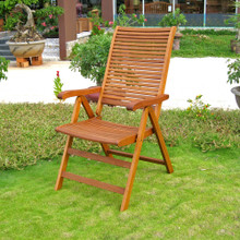 International Caravan Royal Tahiti Freeport Yellow Balau Wood Outdoor Five-Position Folding Armchairs (Set of 2)