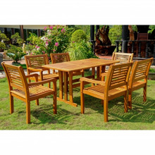International Caravan Royal Tahiti Baza Yellow Balau Wood Rectangular 7 Piece Outdoor Dining Set
